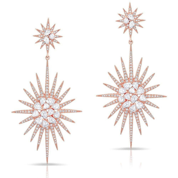 14KT Rose Gold Diamond Double Fireburst Drop Earrings