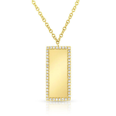 14KT Yellow Gold Diamond ID Tag Necklace