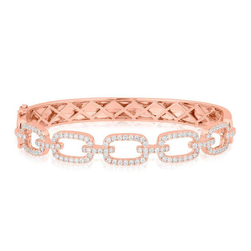14KT Rose Gold Diamond Square Links Bangle Bracelet