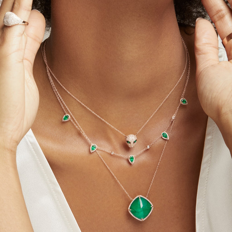 14KT Rose Gold Diamond Emerald Triplet Laguna Necklace-Anne Sisteron