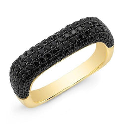 14KT Yellow Gold Black Spinel Square Ring