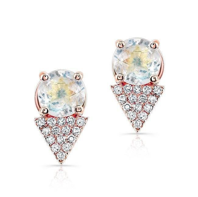 14KT Rose Gold Moonstone Diamond Maddie Stud Earrings