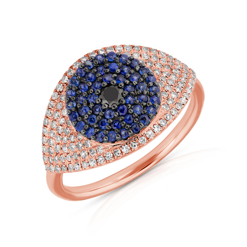 14KT Rose Gold Diamond And Blue Sapphire Evil Eye Ring