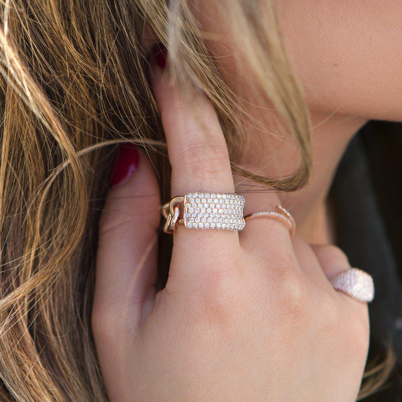 14KT Rose Gold Diamond Luxe ID Link Ring