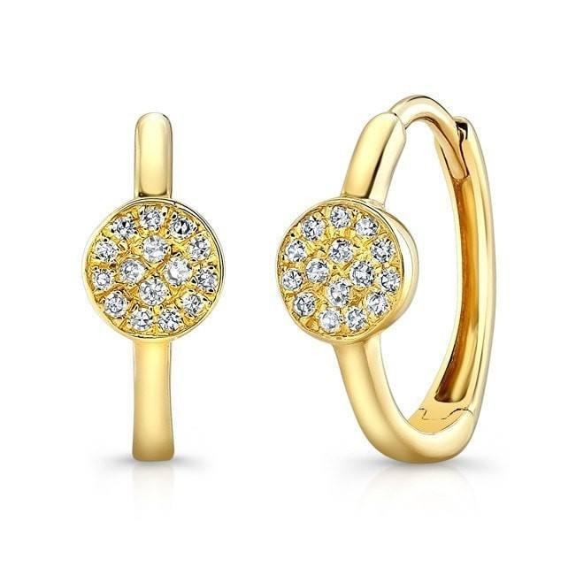 14KT Yellow Gold Diamond St. Tropez Disc Huggie Earrings