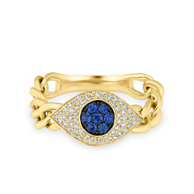 evil eye sapphire diamond big eye chain ring