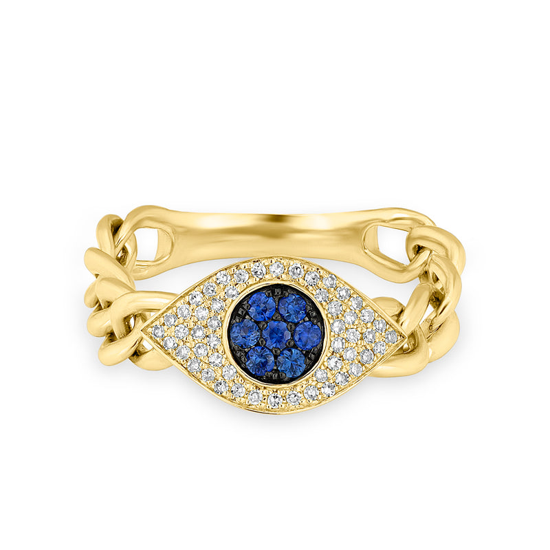 14KT Yellow Gold Diamond Sapphire Evil Eye Chain Ring