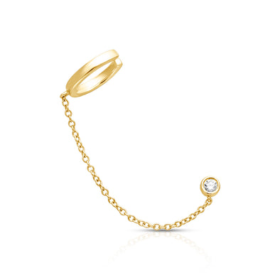 14KT Yellow Gold Bezel Diamond Stud and Chain Ear Cuff
