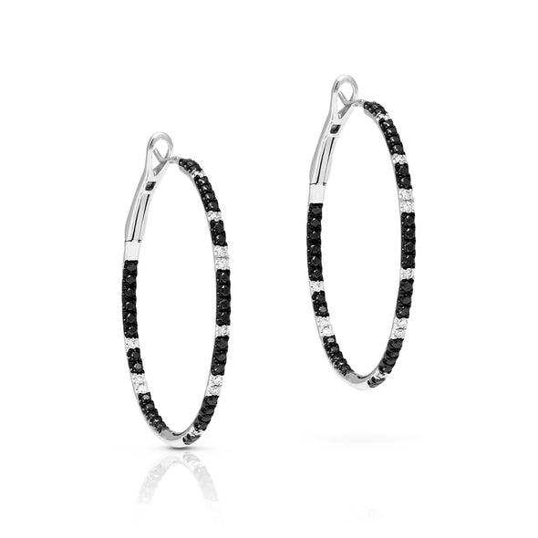 14KT White Gold Black and White Diamond Hoop Earrings