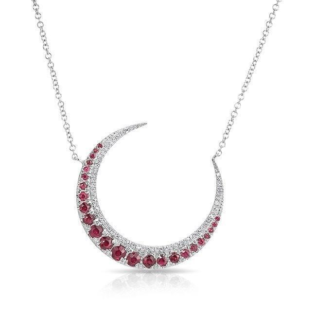 14KT White Gold Ruby Lunar Diamond Necklace