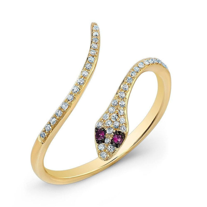14KT Yellow Gold Diamond Slytherin Ring with Ruby Eyes