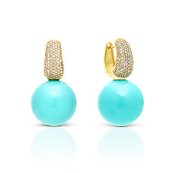 14KT Yellow Gold Diamond Huggie and Turquoise Gumball Earrings