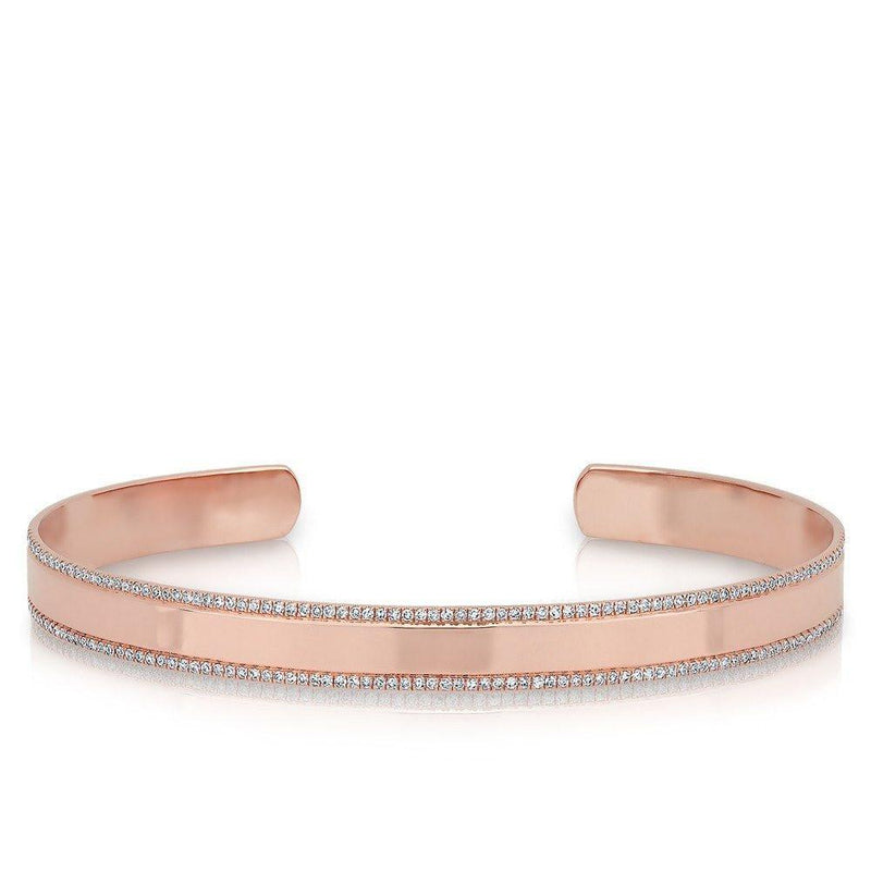 14KT Rose Gold Diamond Trimmed Cuff