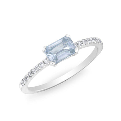 14KT White Gold Blue Sapphire Diamond Madeline Ring