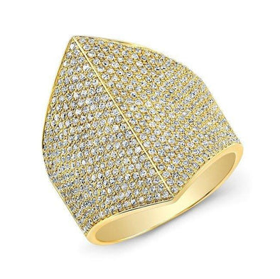 14KT Yellow Gold Diamond Helmet Ring