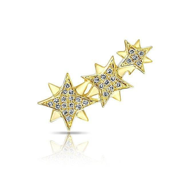 14KT Yellow Gold Diamond Stars Ear Climber