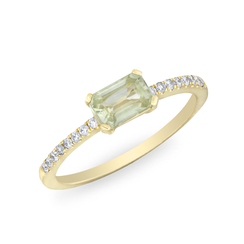 14KT Yellow Gold Green Sapphire Diamond Madeline Ring