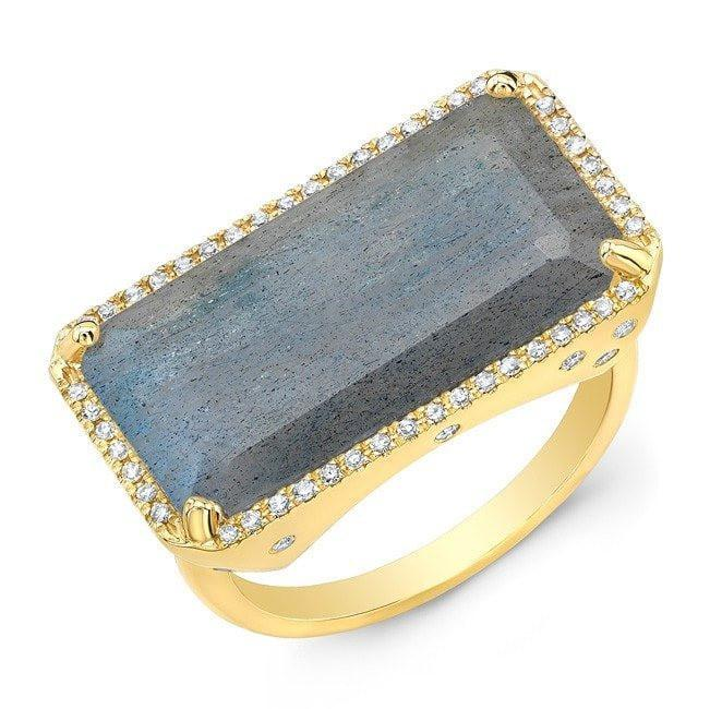 14KT Yellow Gold Diamond Base Labradorite Ring