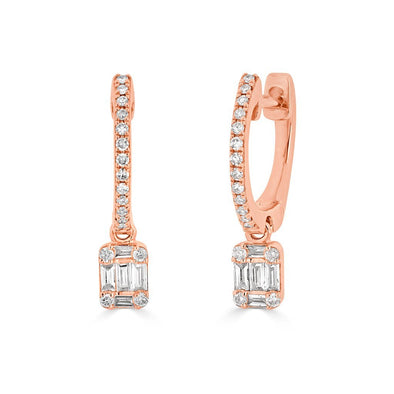 14KT Rose Gold Mini Baguette Diamond Rectangle Ryleigh Drop Earrings