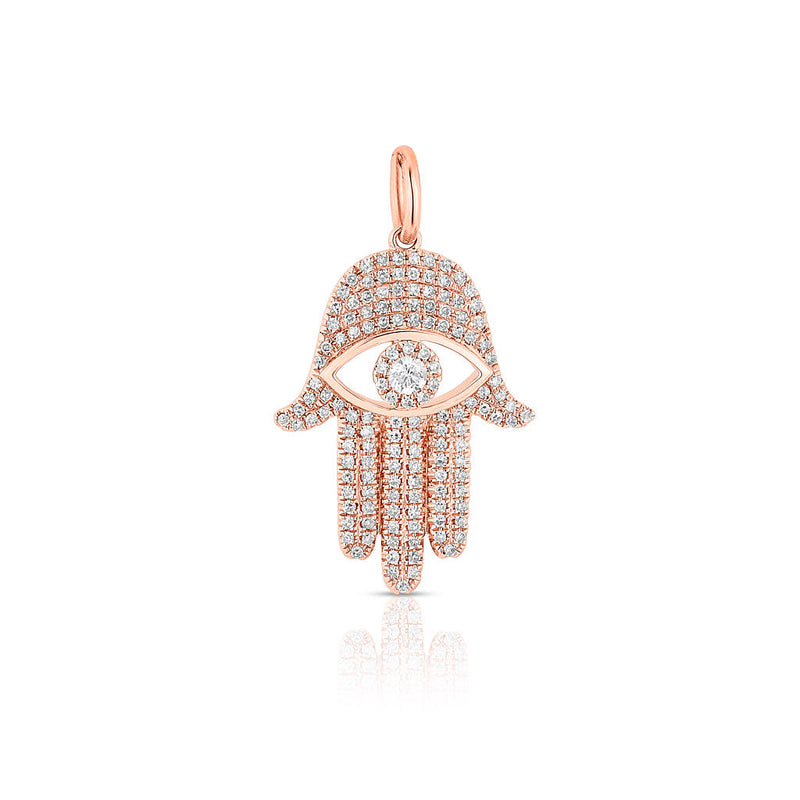 14KT Rose Gold Diamond Evil Eye Hamsa Charm
