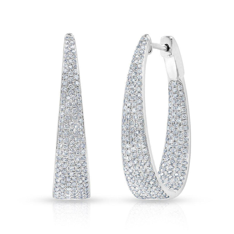 oval shaped modern diamond hoop earrings