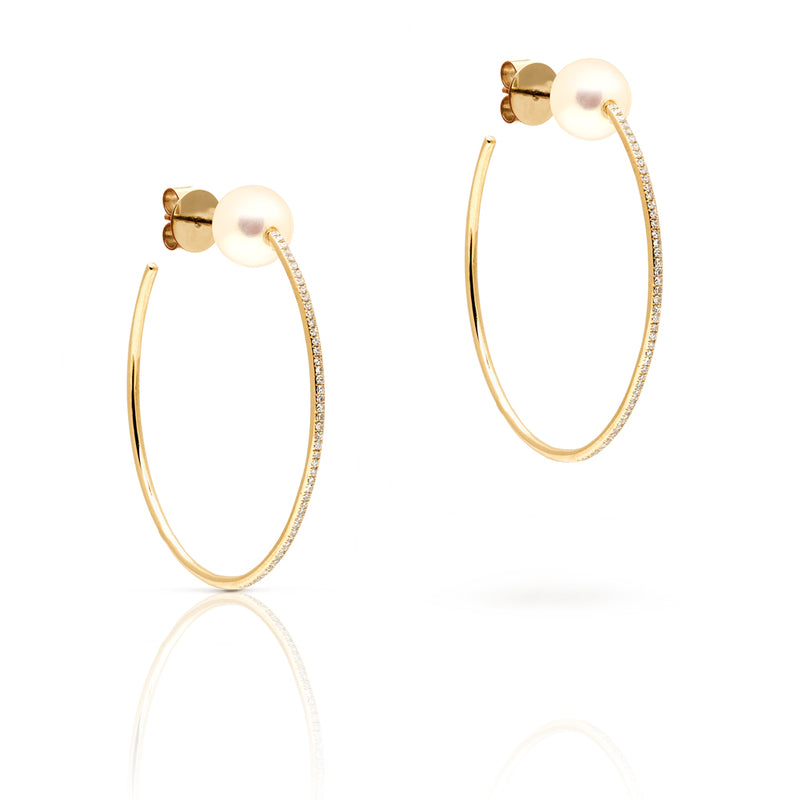 "14KT Yellow Gold Diamond and Pearl 1.5"" Hoop Earrings"
