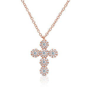 14KT Rose Gold Diamond Luxe Cross Necklace