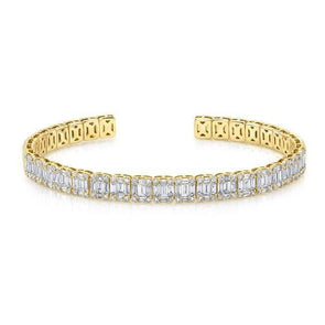 18KT Yellow Gold Baguette Diamond Luxe Cuff Bracelet