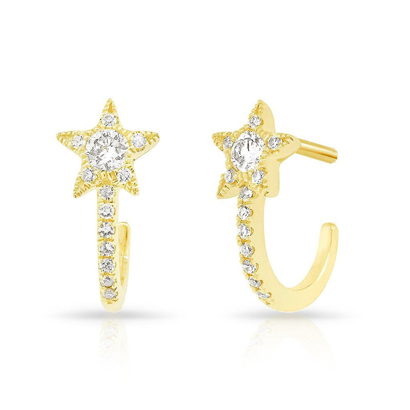 14KT Yellow Gold Diamond Curved Star Huggie Earrings