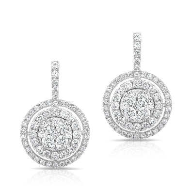 14KT White Gold Pave Diamond Double Halo Wireback Earrings