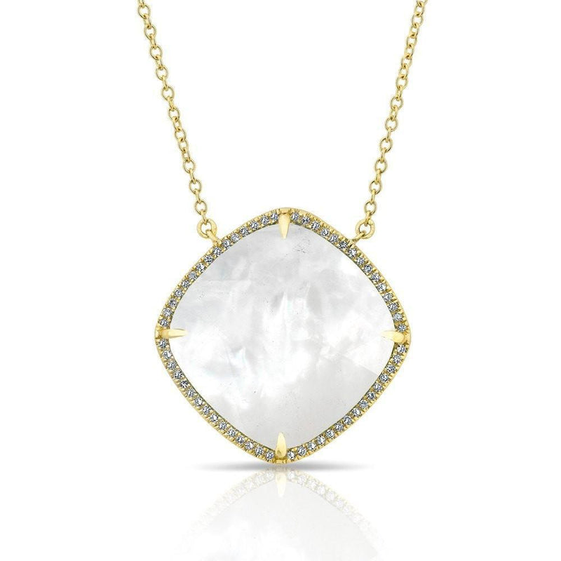 14KT Yellow Gold Diamond Mother of Pearl Laguna Necklace