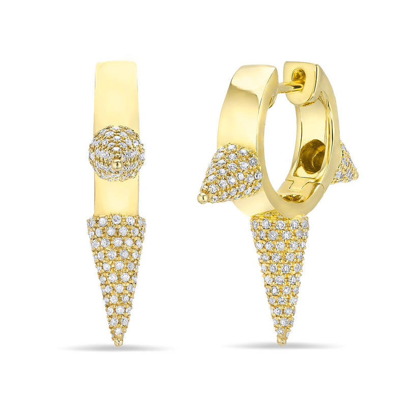 14KT Yellow Gold Diamond Extreme Punk Rock Huggie Earrings
