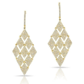 14KT Yellow Gold Diamond Triangle Chime Earrings
