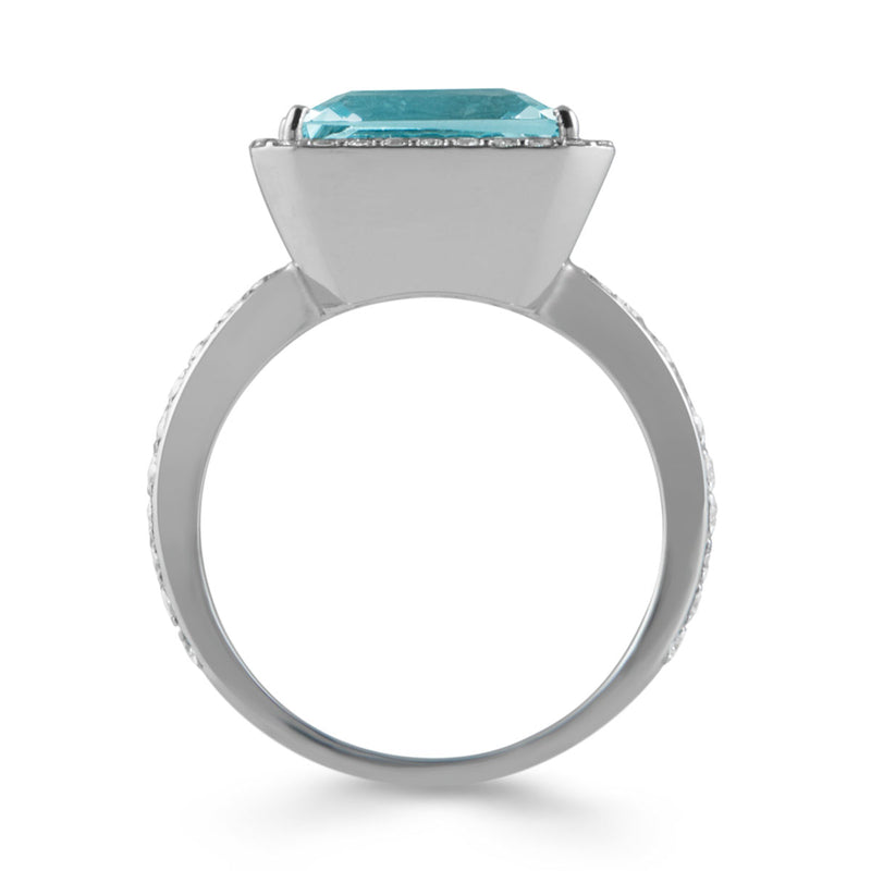 18KT White Gold Aquamarine Diamond Antonella Ring
