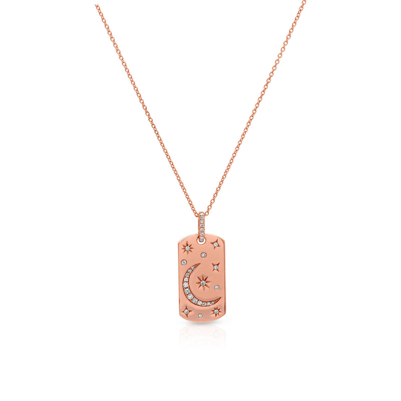 14KT Rose Gold Diamond Moon and Stars Tag Necklace