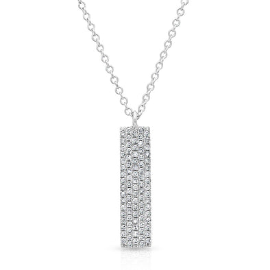 14KT White Gold Diamond Pave Bar Necklace