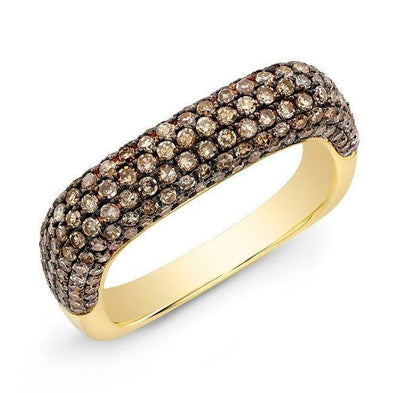 14KT Yellow Gold Champagne Diamond Square Ring