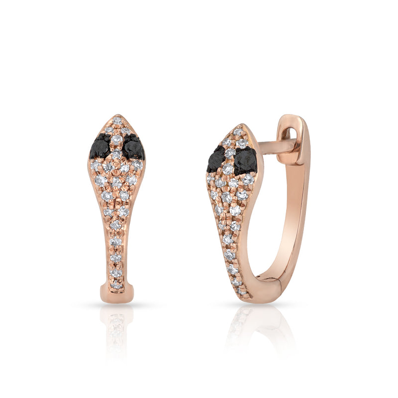 14KT Rose Gold Black Diamond Snake Huggie Earrings