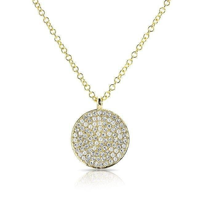 14KT Yellow Gold Diamond Circlet Disc Necklace