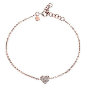 14KT Rose Gold Diamond Heart Bracelet