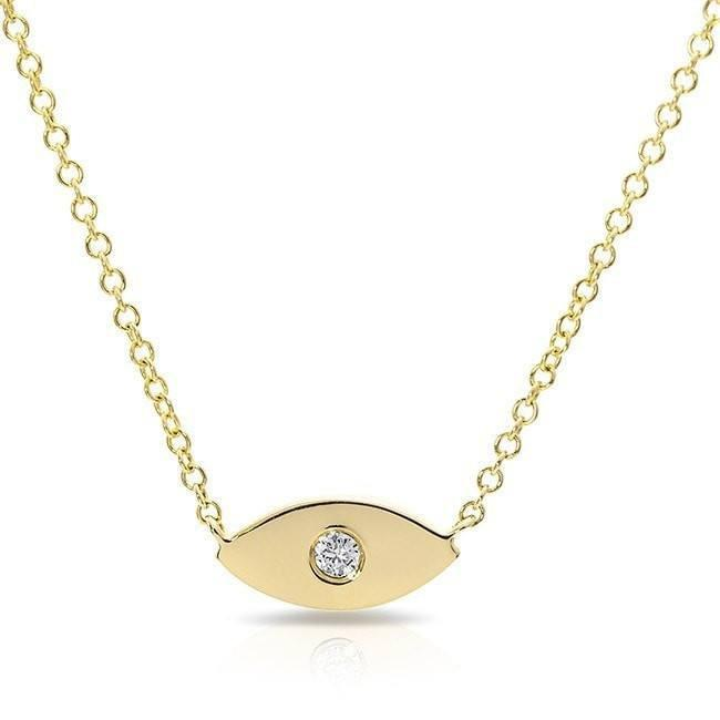 14KT Yellow Gold Diamond Evil Eye Necklace
