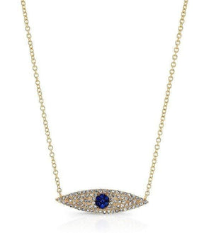 14KT Yellow Gold Diamond And Sapphire Evil Eye Necklace