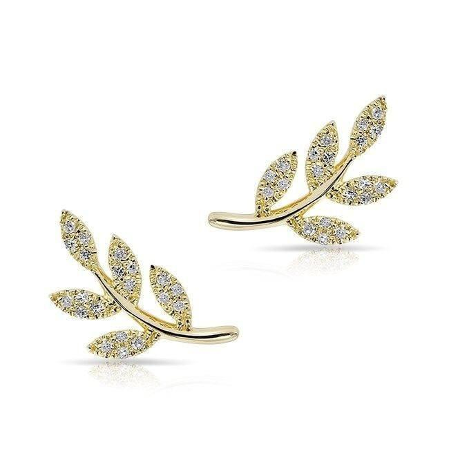 14KT Yellow Gold Diamond Leaf Stud Earrings