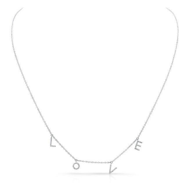 14KT White Gold All Diamond Love Necklace