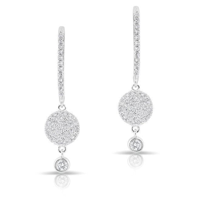 14KT White Gold Diamond Disc Solitaire Drop Wireback Earrings