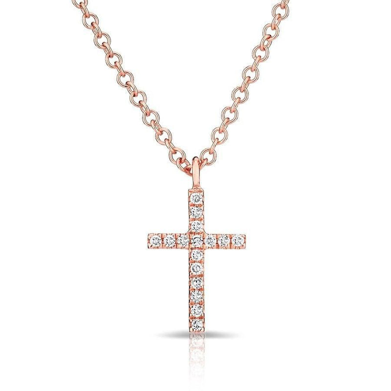 14KT Rose Gold Diamond Cross Necklace