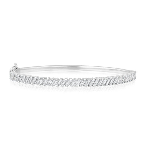 18KT White Gold Baguette Diamond Clarissa Bangle Bracelet