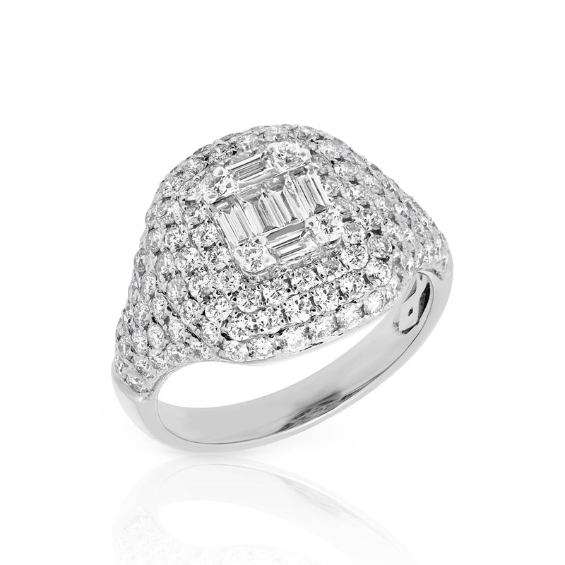 14KT White Gold Baguette Diamond Alexandrine Signet Ring