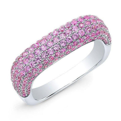 14KT White Gold Pink Sapphire Square Ring
