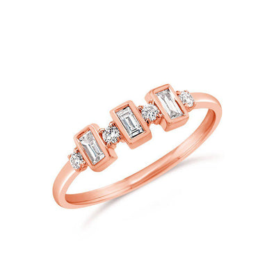 triple baguette diamond stacking ring